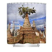 Ruined Pagodas At Shwe Inn Thein Paya Shower Curtain