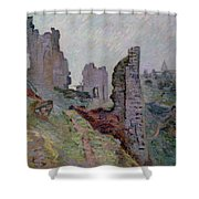 Ruins In The Fog At Crozant Shower Curtain by Jean Baptiste Armand Guillaumin
