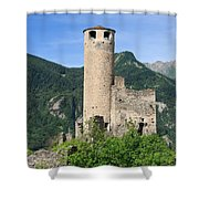 ruins of Chatelard castle Shower Curtain