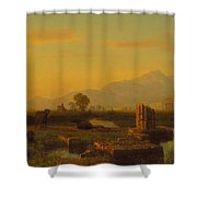 Ruins Of Paestum Shower Curtain by Albert Bierstadt