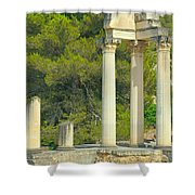 Ruins Of Roman Columns In Glanum  Shower Curtain