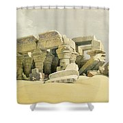 Ruins Of The Temple Of Kom Ombo Shower Curtain by David Roberts