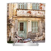 Run-down Building In Rethymnon Shower Curtain