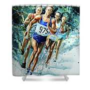 Run For Gold Shower Curtain