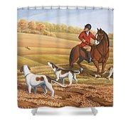 Run Fox Run Hunting Painting Commission Shower Curtain