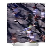 Runners Along Street In A Marathon Blurred And Abstract Shower Curtain