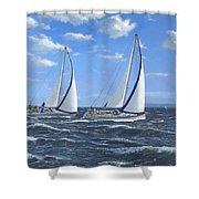 Running Close Hauled Shower Curtain