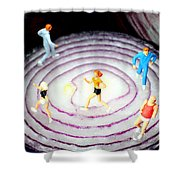 Running On Red Onion Little People On Food Shower Curtain