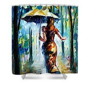 Running Towards Love - Palette Knife Oil Painting On Canvas By Leonid Afremov Shower Curtain