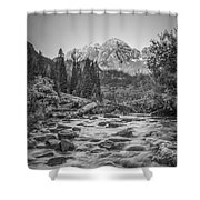 Runoff  Bw Shower Curtain