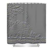 Rural Cemetery Black And White Embossed Digital Art Shower Curtain