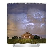 Rural Country Cabin Lightning Storm Shower Curtain