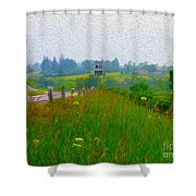Rural Highway In Oil Paint Shower Curtain