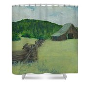 Rural Landscape Colorful Oil Painting Barn Fence Shower Curtain