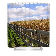 Rural Landscape With Fence Shower Curtain