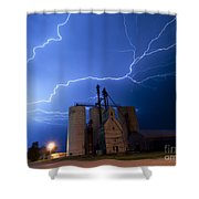 Rural Lightning Storm Shower Curtain