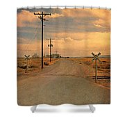 Rural Railroad Crossing Shower Curtain