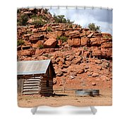 Rural Ranch Cabin During Desert Storm Shower Curtain
