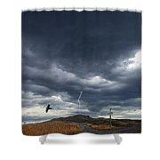 Rural Road In Lightning Storm Shower Curtain
