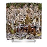 Rural Rustic Rundown Rocky Mountain Cabin Shower Curtain