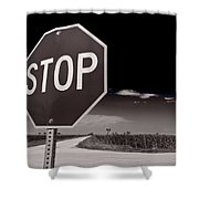 Rural Stop Sign Bw Shower Curtain
