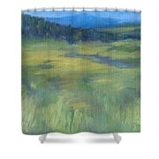 Rural Valley Landscape Colorful Original Painting Washington State Water Mountains K. Joann Russell Shower Curtain