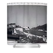 Rural Washday 1969 - Nostalgic Memories Shower Curtain