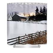 Rural Winter Landscape Shower Curtain