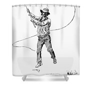 Russell Bull Whacker Shower Curtain
