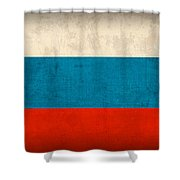 Russia Flag Distressed Vintage Finish Shower Curtain by Design Turnpike