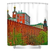 Russian Orthodox Church From Park Outside The Kremlin In Moscow-russia Shower Curtain