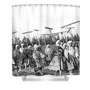 Russian Women Go To The Fields Shower Curtain