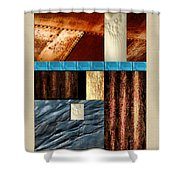 Rust And Rocks Rectangles Shower Curtain