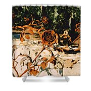 Rust And Roses Shower Curtain
