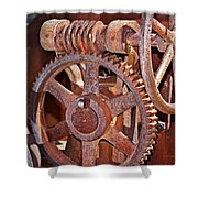 Rust Gears And Wheels Shower Curtain