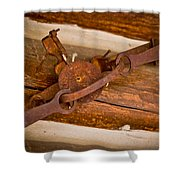 Rust Trapped On A Log - Old Trap - Casper Wyoming Shower Curtain