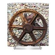 Rusted Gear Wheel Glacier National Park Montana Shower Curtain