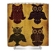 Rustic Aged 4 Owls Shower Curtain