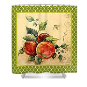 Rustic Apples On Moroccan Shower Curtain