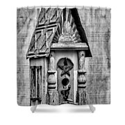 Rustic Birdhouse - Bw Shower Curtain