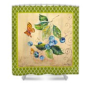 Rustic Blueberries On Moroccan Shower Curtain