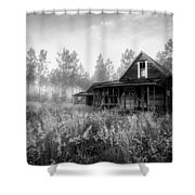 Rustic Historic Woodlea House - Black And White Shower Curtain