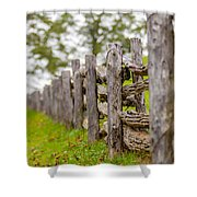 Rustic Home Made Split Rail Fence In The Mountains Of North Caro Shower Curtain by Alex Grichenko