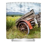 Rustic Landscapes - Wagon And Wildflowers Shower Curtain