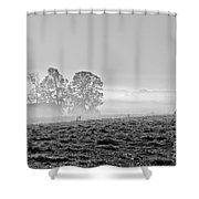 Rustic Morning In Black And White Shower Curtain