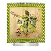 Rustic Pears On Moroccan Shower Curtain