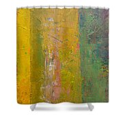 Rustic Stripes With Yellow Shower Curtain by Michelle Calkins
