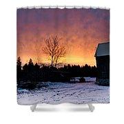 Rustic Winter Sunrise Shower Curtain