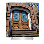 Rustic Wood Charleston Door Shower Curtain