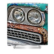 Rusty 1959 Ford Station Wagon - Front Detail Shower Curtain